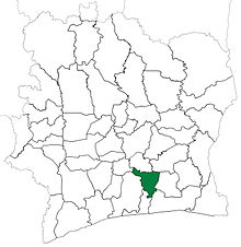 Tiassale Department upon its creation in 1988. It kept these boundaries until 2012, but other subdivision boundary changes began to be made in 1995. Tiassale Department locator map Cote d'Ivoire (1988-95).jpg