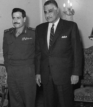 Mustafa Tlass - Chief of Staff Tlass meeting Egyptian President Gamal Abdel Nasser in Cairo, 1969