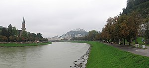 Salzach - Image: To WIKI panorama Salzburg Salzach river Oct 2005