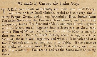 Hannah Glasse - Glasse's recipe for curry, 1748—the first known written English recipe for the dish