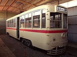 Toei 7000 series - Original car 7024 preserved in Shizuoka Prefecture in 2002
