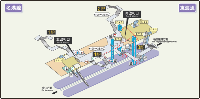 Tokai-dori station map Nagoya subway's Meiko line 2009.png