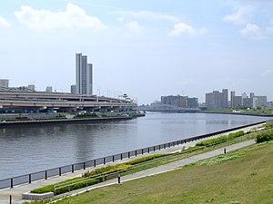 Arakawa, Tokyo - Sumida River from Suijin Bridge in Arakawa