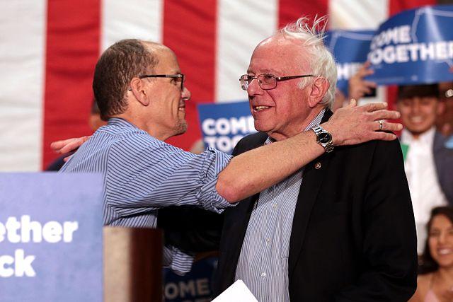 From commons.wikimedia.org: Tom Perez & Bernie Sanders {MID-150652}