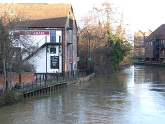 Tonbridge - The Wharf on the Medway Navigation, downstream of the Big Bridge.