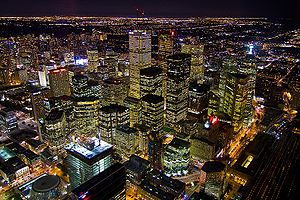 Financial District, Toronto - View of the Financial District from the CN Tower at night