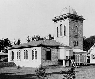Toronto Magnetic and Meteorological Observatory - The newer observatory before it was moved, looking towards the southwest. This image is the same orientation as the one below, viewed from the left of the tower.