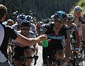 Tour de France 2012, cav en eisel worden bevoorraad (14683245109).jpg