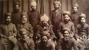 Mirza Basheer-ud-Din Mahmood Ahmad - Mirza Mahmood Ahmad (seated center) with the scholars who accompanied him in his tour of the Middle East and Europe.