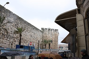 Tower of David wall and Jaffa Gate from Greek Catholic Patriarchate Street, Jerusalem.jpg