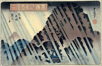 Utagawa Toyokuni II - Image: Toyokuni II 8 Famous Views (Meisho Hakkei), Night Rain at Oyama (Maya Mountain)