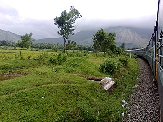 Palakkad Gap - Image: Train negotiating Palghat Gap