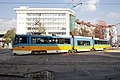 Tram in Sofia near Russian monument 056.jpg