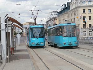 Trams 095 and 071 at Chyrvonaya Stop Minsk 11 May 2014.JPG