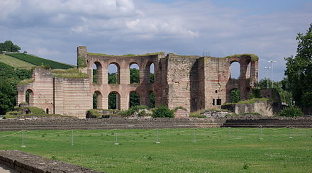 Public baths (thermae) built in Trier by Constantine, more than 100 metres (328 ft) wide by 200 metres (656 ft) long and capable of serving several thousand at a time, built to rival those of Rome Trier Kaiserthermen BW 1.JPG