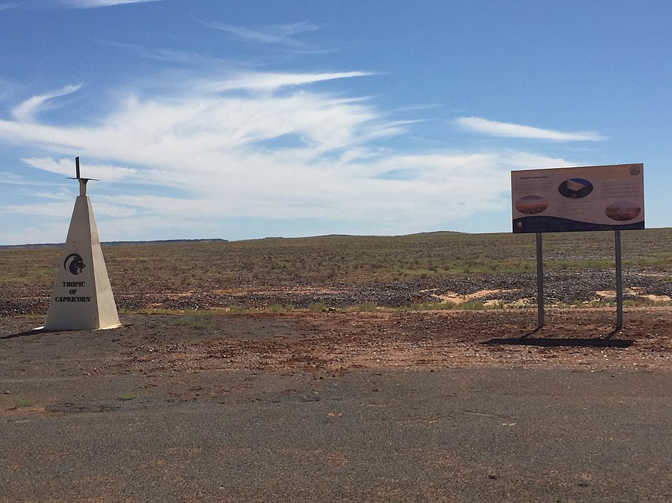 Tropic of Capricorn monument, Diamantina Developmental Road, 2016