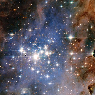 star cluster with luminous stars