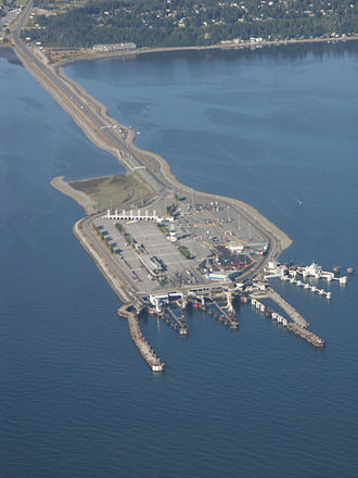 BC Ferries - Tsawwassen terminal was constructed by filling in a large area at the end of a causeway in 1960
