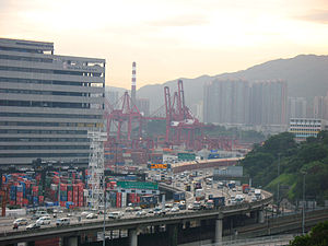 Tsing Kwai Highway at sunset.JPG