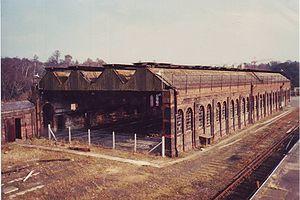 Spa Valley Railway - Derelict locomotive shed, c1986