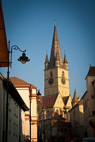Transylvanian Saxons - Image: Turnul Bisericii Evanghelice din Sibiu