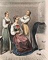 Två kvinnor klär en brud, Blekinge. Bildtryck - Nordiska Museet - NMA.0039151.jpg