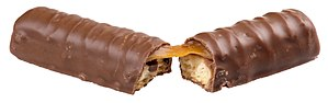 English: A Twix candy bar, broken in half.