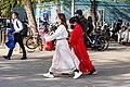 Two female visitors walking towards Yuyuantan East Gate (20210414160322).jpg