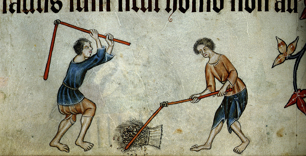 Two men threshing sheaf - Luttrell Psalter c1325-1335 f74v - BL Add MS 42130