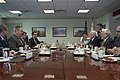U.S. Deputy Secretary of Defense Bob Work, second from left, meets with Israeli Director General of the Ministry of Defense Dan Harel, second from right, at the Pentagon in Arlington, Va., to discuss matters 141020-D-DT527-107.jpg