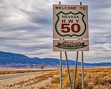 Loneliest Road In America Map.U S Route 50 In Nevada Wikipedia