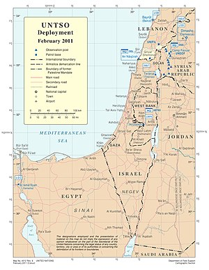 United Nations Truce Supervision Organization - UNTSO deployment as of February 2011.