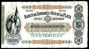 50 peso Uruguay banknote from 1872
