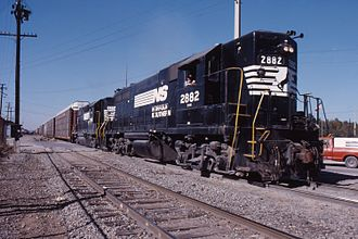 Short hood - Two Norfolk Southern Railroad locomotives with high short hoods in 1987.