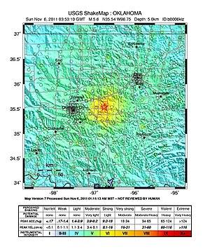 2011 Oklahoma earthquake - USGS ShakeMap for the Oklahoma earthquake