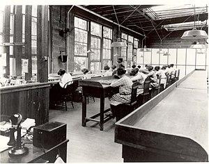Radium Girls - Radium dial painters working in a factory