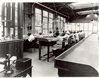 Radium Girls - Radium dial painters working in a factory