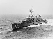 USS Allen M. Sumner (DD-692) underway at sea on 28 August 1970 (NH 96635)