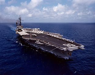 USS America (CV-66) underway in the Indian Ocean on 24 April 1983 (NH 106552-KN).jpg