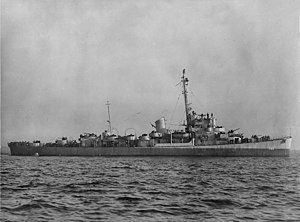 28 November 1944: USS Cates (DE-763) New York Harbor - Taken off the New York Navy Yard.