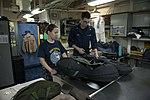 USS Essex Sailors perform maintenance on life preservers 151006-N-BU440-020.jpg