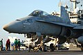 US Navy 021016-N-1810F-002 An F-A-18C Hornet assigned to the Dambusters of Strike Fighter Squadron One Nine Five (VFA-195) prepares to launch from one of four steam catapults on the ship's flight deck.jpg