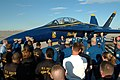 US Navy 050203-N-0962S-209 After receiving a flight in a Blue Angel F-A-18D Hornet, Master Chief Petty Officer of the Navy (MCPON) Terry Scott speaks to the pilots and maintenance team at the Blue Angels' winter training facil.jpg