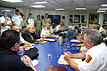 US Navy 070628-N-8110K-002 Cmdr. John Beaver, USS Bulkeley (DDG 84) commanding officer, addresses a welcome committee of Boston officials as the ship begins a port visit to kick off Boston Navy Week.jpg
