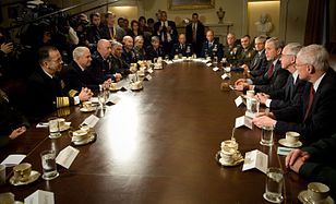 US Navy 080129-N-0696M-033 Adm. Mike Mullen, chairman of the Joint Chiefs of Staff and Secretary of Defense Robert M. Gates attend a meeting of military combatant commanders with President George W. Bush