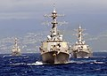 US Navy 090115-N-9758L-620 Guided-missile destroyers USS Paul Hamilton (DDG 60), USS Hopper (DDG 70), and USS Russell (DDG 59) sail in formation during the Commander, Naval Surface Group Middle Pacific Surface Combatant Group S.jpg