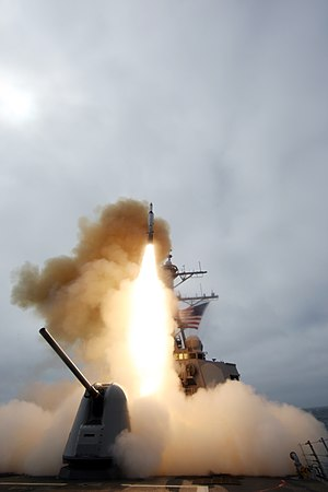 US Navy 090326-N-0000X-001 The San Diego-based guided-missile destroyer USS Benfold (DDG 65) fires a missile Thursday, March 26, 2009 during training exercise Stellar Daggers in the Pacific Ocean