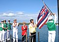 US Navy 090723-N-5476H-263 The Honorable Linda Lingle, governor of the state of Hawaii proudly displays the Hawaii state flag aboard the Virginia-class attack submarine USS Hawaii (SSN 776).jpg