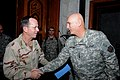 US Navy 091218-M-9508D-001 Adm. Mike Mullen is greeted by U.S. Army General Ray Odierno at the Al-Faw Palace, Iraq.jpg