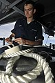 US Navy 100910-N-7103C-009 Boatswain's Mate 3rd Class Nate Long, from San Diego, splices a lifeline on the fantail of the aircraft carrier USS Geor.jpg